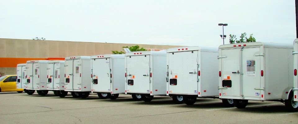 Row of small trailers